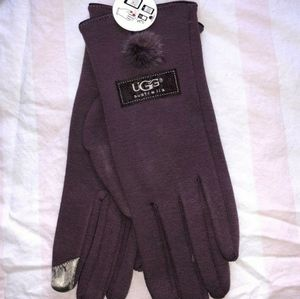Purple ugg pom pom tech gloves